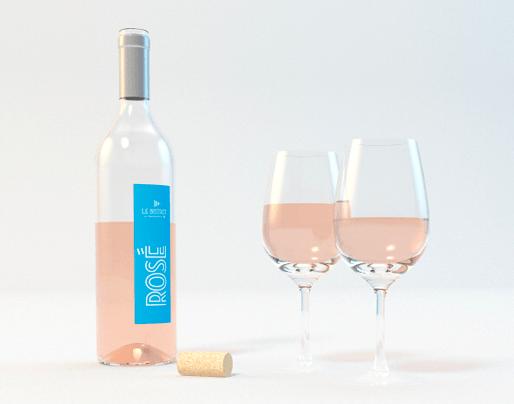 Visuel présentant une proposition d'étiquette de bouteille de vin rosé - Simon Pointillart Design