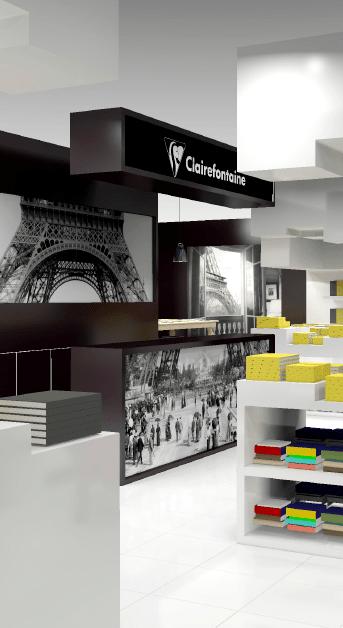 Vue 3D du point de vente zoom sur la caisse avec un visuel de la tour Eiffel