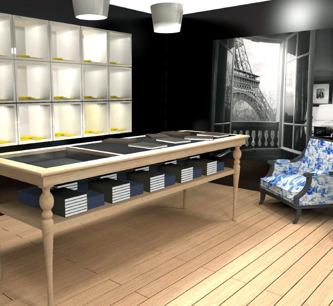 Vue 3D de l'espace dédiés aux produits haut de gamme