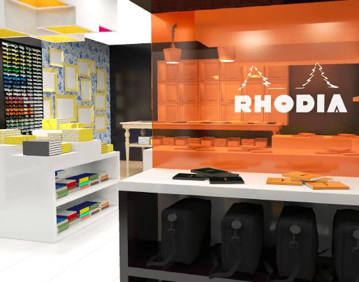 Vue 3D depuis l'espace Rhodia. Verre teinté en orange