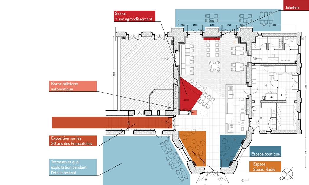 Plan d'aménagement et zoning des différents espaces du comptoir - Studio Simon Pointillart Design