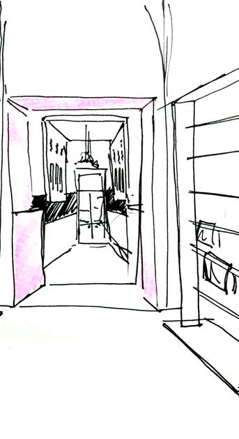 Croquis d'ambiance du couloir d'accès au comptoir (espace rétrospectif) - Studio Simon Pointillart Design