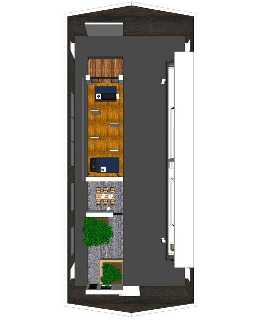 Vue 3D d'une coursive avec les parties communes, la cour privée, le salon, et le balcon