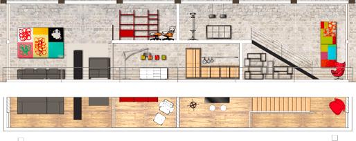 Coupe d'un appartement sur fond de mur de pierre
