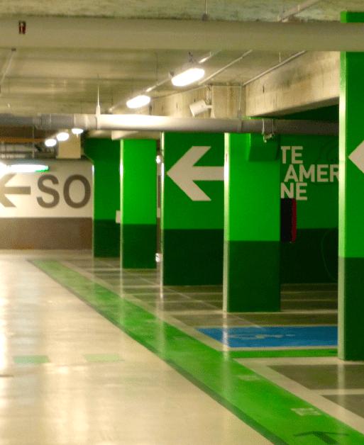 Vue sur une des 3 zones du parking