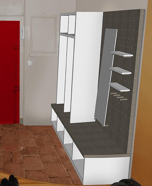 Vue de l'entrée de l'appartement en phase projet