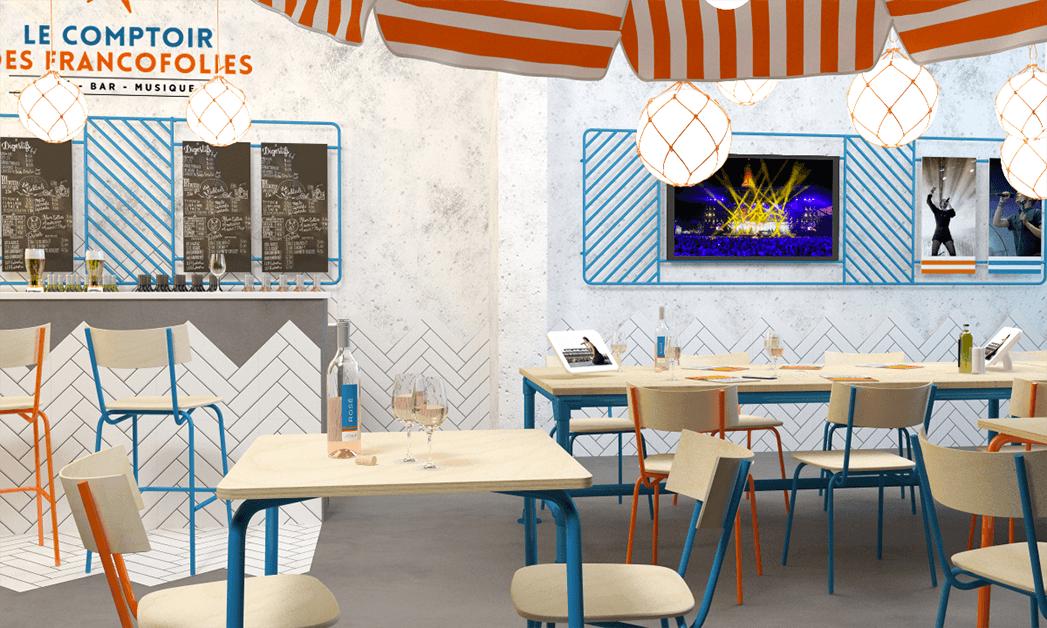 Vue 3D présentant une projection de l'ambiance du Comptoir des Francofolies en gare SNCF
