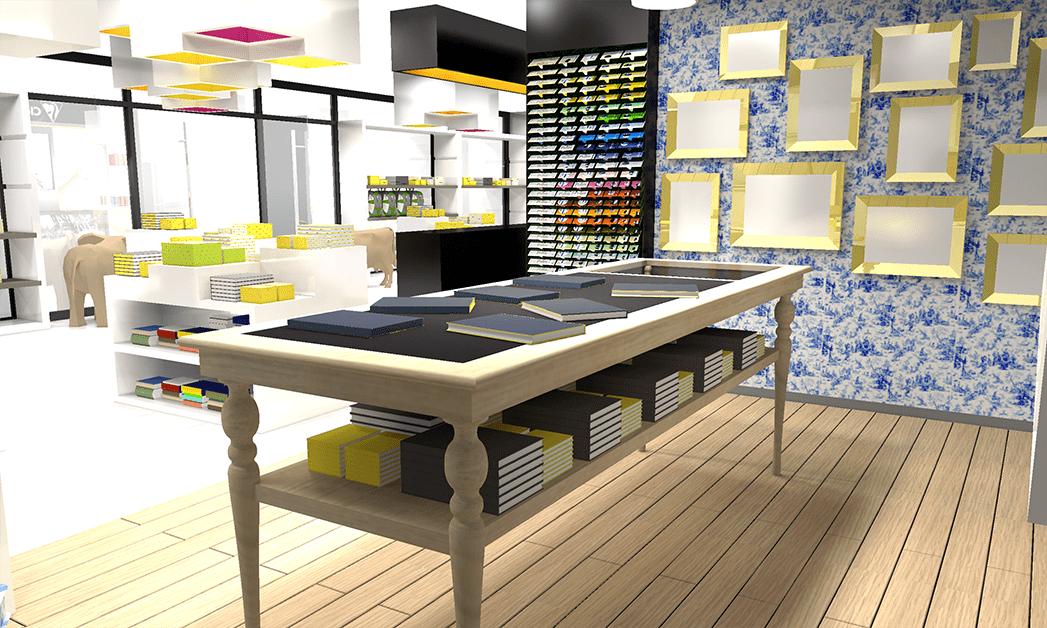 Vue 3D présentant l'espace dédié aux produits haut de gamme