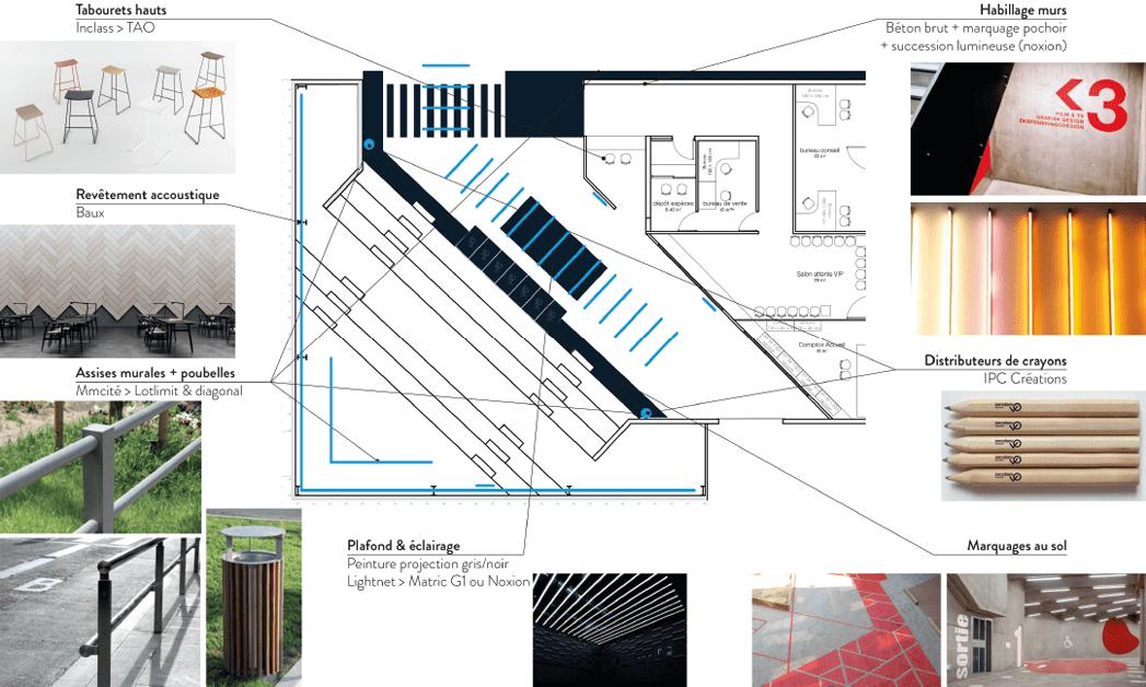 Enchères VO Planche descriptive du projet d'aménagement de la salle des ventes à Beauzelle -