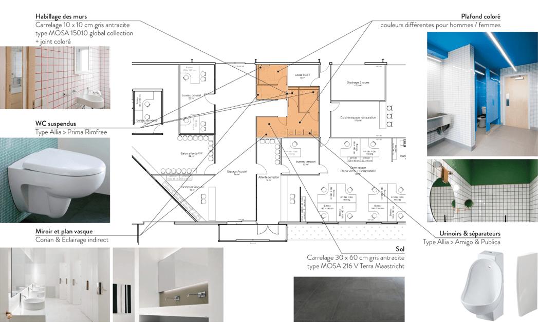 Enchères VO Planche descriptive du projet d'aménagement des toilettes du site de Beauzelle -