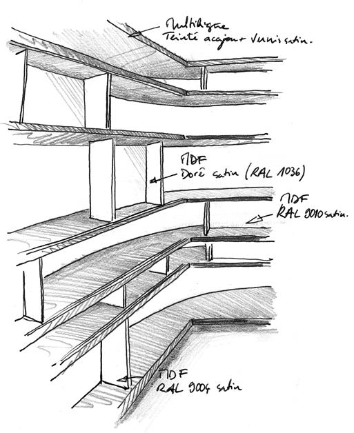 Croquis de détail de l'étagère du coin cheminée