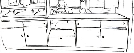 Croquis d'esquisse du meuble de séparation entre le salon et la salle à manger