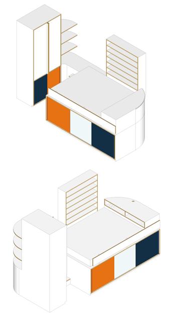 Axonométries du projet d'aménagement de la chambre d'amis