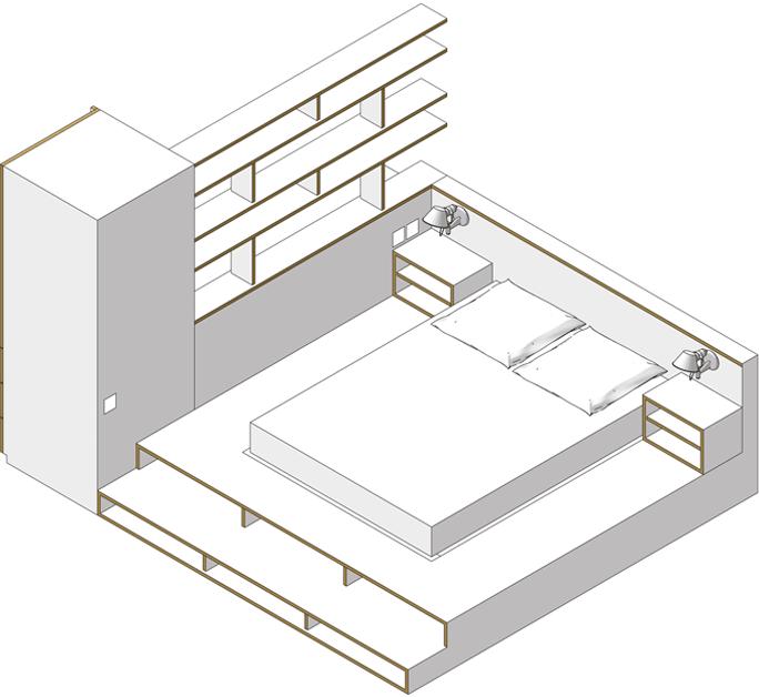 Axonométrie du projet d'aménagement de la chambre de C